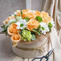 Barack virágdoboz vegyes virágokból